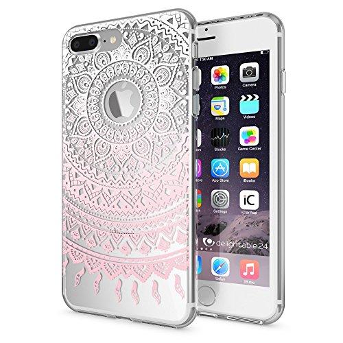 NALIA Funda compatible con iPhone 8 Plus / 7 Plus, Motivo Design Movil Protectora Ultra-Fina Carcasa Silicona Cubierta, Goma Estuche Telefono Bumper Cover Phone Case, Designs:Mandala Pink Rosa