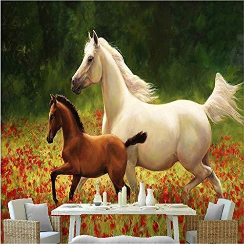 BIZI Fine Décor Wallpaper 3D Safflower Sea weißes Pferd und kleines braunes Pferd, das Seitenwand-Tapete Malt,200 * 140 cm