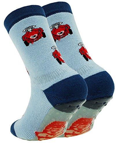 EveryKid Ewers Babystoppersocken Stoppersocken Jungensocken ABS Socken Antirutsch schadstofffrei mit Bobby Car für Babys (EW-27115-S17-BJ0-1176-21/22) in Aquamarin, Größe 21/22 inkl Fashionguide