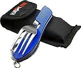 Kadactive Couverts de camping pliable en acier inoxydable avec sac à ceinture et porte-bouteille (Bleu)