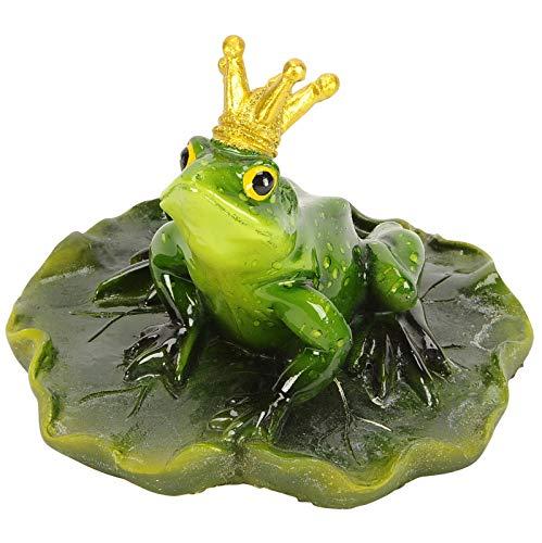 Froschkönig a. Blatt schwimmend - D13,5xH10cm - grün