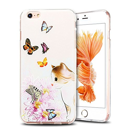 Cover iPhone 6 plus Custodia iPhone 6s plus Silicone Anfire Morbido Flessibile Gel TPU Case per Apple iPhone 6 plus/6s plus (5.5 Pollici) Ultra Sottile Slim Clear Trasparente Copertura Ultra Leggera A Kitty