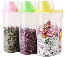 LMS Plastic Cereal Dispenser Jar Set, 2.5 Litres, Set of 3, Multicolor