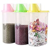 LMS Plastic Cereal Dispenser Jar Set, 1.9 Litres, Set of 3, Multicolor