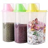 LMS Plastic Cereal Dispenser Jar Set, 1.9 litres, Set of 3, Multicolor