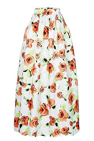 Bling-Bling Floral African Print Navy Maxi Skirt(Orange,S)