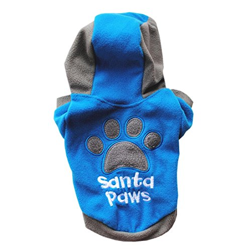 Hmeng Winter 100% Baumwolle Casual Haustiere Hund Kleidung Warm Mantel Kapuzenjacke Kleidung für Hunde (L, Blau) (Plaid L/s Blau Shirt)