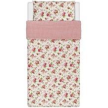 Ikea Rosali - Juego de funda nórdica y funda de almohada (140 x 200 cm y 80 x 80 cm, 100% algodón), diseño de rosas