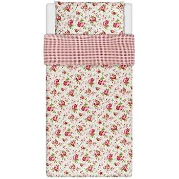 Bettwaren, -wäsche & Matratzen Möbel & Wohnen Superb Doppel Baumwolle Rosa Blau Rosen Blumen Wende Billig Bettdecke Schick Set