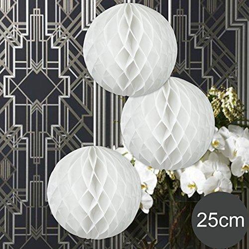 mb WABENBÄLLE Supreme Weiss DM 25cm Hochzeit Wedding Wabenball Dekoration Lampion ()
