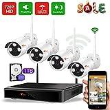 CORSEE 1080P WiFi NVR Videoueberwachung Set,4 Stück 720P Wasserdichte Outdoor Überwachungskameras System,Live Ansicht per Handy/PC,mit 1TB Festplatte