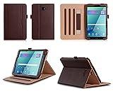 VOVIPO Schutzhülle mit Standfunktion für Samsung Galaxy Tab A (SM-T580/-T581/-T585), 10,1 Zoll (25,7 cm), Hochwertige Lederhülle, Handschlaufe, Verstärkte Ecken braun braun