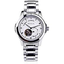 binlun da uomo in acciaio inox automatico meccanico scheletro Cronografo zaffiro cristallo luminoso orologio da polso