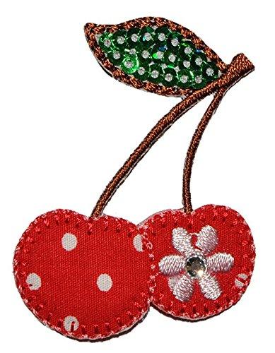 Preisvergleich Produktbild Kirsche 4, 2 cm * 5 cm Bügelbild - Aufnäher Applikation Kirschen mit Paillette und Blumen Punkte Frucht