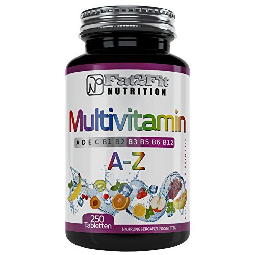 Multivitamin A-Z 250 Tabletten von Fat2Fit Nutrition 100% Tagesdosis -
