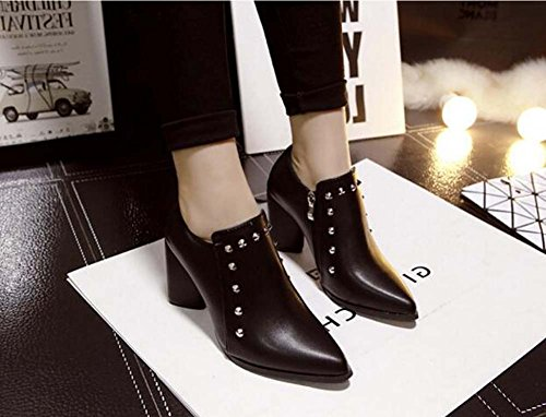 Pompe 8cm Chunkly Talon Bottines Bottines Bottines Bottines Martin Bottes Sexy Lacets Rivets Chaussures Robe Chaussures Knight Chaussures Escarpins Eu Taille 34-40 Noir