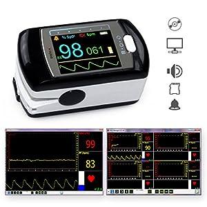 Pulsoximeter PULOX PO-300 ideal für Langzeitaufnahmen mit OLED Farbdisplay, Alarm, Pulston, Li-Ionen-Akku *inkl. Software auf CD, USB-Ladekabel, Netzteil