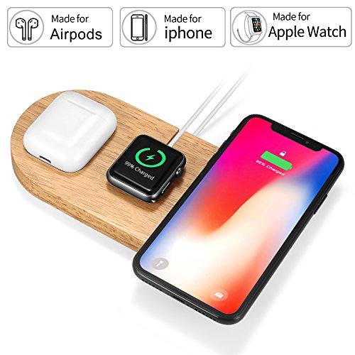 Rhidon AirPower Style wireless, caricatore 3in 1legno Apple Watch stand, Airpods dock, Qi wireless Pad di ricarica rapida per iPhone x/iPhone 8/iPhone 8Plus e altri dispositivi compatibili QI