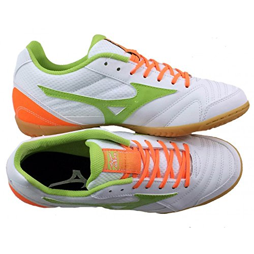 Scarpe da calcetto indoor, MIZUNO SALA CLUB 2 IN WHITE ORANGE LIME Q1GA1551