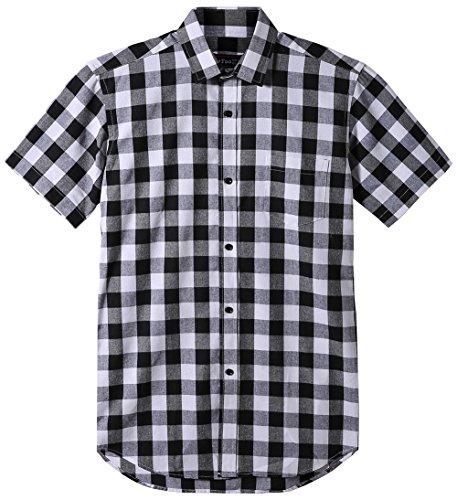JEETOO Classics Herren Slim Kariert Kurzarm Hemd Freizeit Hemd Baumwolle Button-Down Modern Hemd, (X-Large, Weiß und Schwarz) (Button-down Baumwoll Hemd)