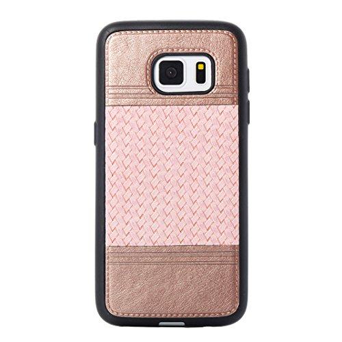 Cover Per Samsung Galaxy S7, Asnlove TPU Moda Morbida Custodia Linee Intrecciate Caso Elegante Ultra Sottile Cassa Braided Stile Tessere Case Bumper Per Samsung Galaxy S7 - Rosa Rosa