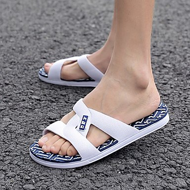 Pantofole dei sandali e al comfort PU Primavera Casual Nero Bianco piani degli uomini sandali US7.5 / EU39 / UK6.5 / CN40