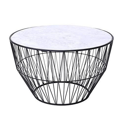 Tische MEIDUO Beistelltisch, Marmor Endtisch aus Metall runder Couchtisch Nachttisch für Schlafzimmer Wohnzimmer 21.7'× 15.7' Computertisch