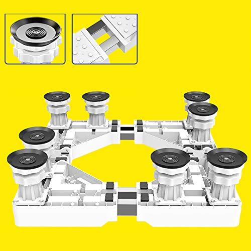 Mfnyp Waschmaschine Basis Sockel, Verstellbar Universal Sockel Kühlschrank Radregal 8 Verstellbare Stützbeine Für Trockner, Waschmaschine Und Kühlschrank,Weiß