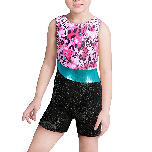 Kidsparadisy Mädchen Gymnastik Trikot mit Shorts Ärmellos Gespleißt Band Funkeln Tanzabnutzung für 2-15 Jahre (Flowers, 130(6-7 Jahre)) - Mädchen Uniform Shorts