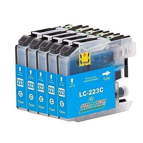 5 cartouches d'encre compatibles pour Brother LC223XL cyan avec puce pour Brother DCP-J4120DW / MFC-J4420DW / MFC-J4620DW / MFC-J4625DW / MFC-J4425DW / MFC-J5320DW / MFC-J5620DW / MFC-J5625DW /