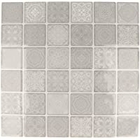 Artemio hoja mosaicos grises autoadhesivas, multicolor, 30cuadros de 4x 4cm