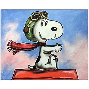 Original Gemälde Acrylfarben auf Leinwand und Keilrahmen: Peanuts Snoopy vs. Red Baron II / 40x50 cm
