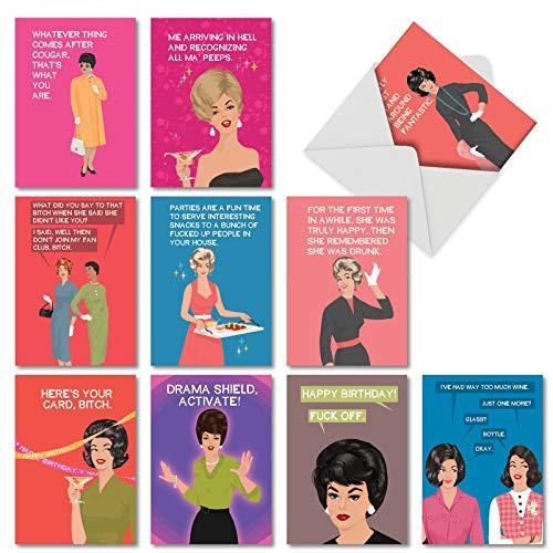 NobleWorks AC3101BDG-B1x10 Happy Birthday Karten mit Umschlägen, lustige Bluntcard, Bday Karten für Frauen, Mutter, Ehefrau, AC3101BDG-B1x10