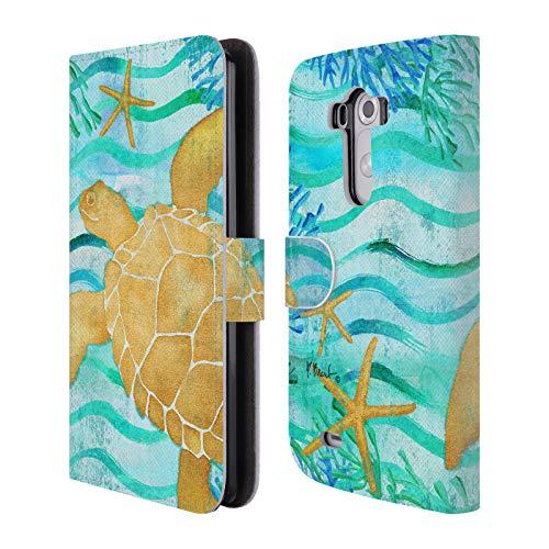 Head Case Designs Offizielle Paul Brent Polarlicht-Schildkröte Küsten Brieftasche Handyhülle aus Leder für LG G3 / D855 / D850 / D851 (Schildkröte Lg G3)