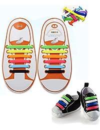 Sin corbata Cordones de zapatos para niños y adultos, Konsait Impermeables cordón elástico de silicona de Zapatos para ocasionales zapatilla de deporte Zapatos