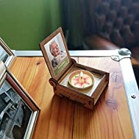CANDLE in the BOX Trauerkerze in Holzbox mit Spruch | personalisiert mit Foto und mit Namen | STERNE DER ERINNERUNG | Gedenkkerze | Trauerlicht