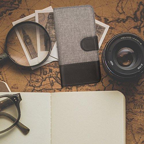 kwmobile Custodia portafoglio per Apple iPhone X - Cover in simil pelle a libro Flip Case con porta carte funzione appoggio grigio nero .grigio nero
