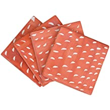 SouvNear Absorbent Square Ceramic Beverage Coasters in Peach & White - Set of 4 - Bar / Dining Accessories