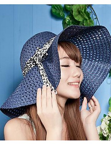 MGS-Sombreros   Mujer Primavera Verano Otoño Todas las Temporadas Vintage  Bonito Fiesta Trabajo Casual Paja Sombrero de Paja Som 472ffb63680