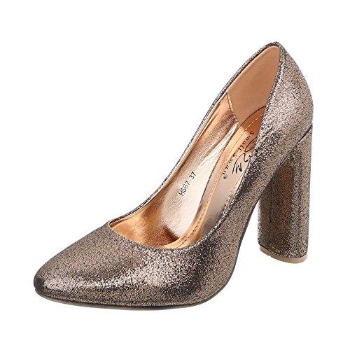 Ital-Design High Heel Pumps Damenschuhe High Heel Pumps Pump High Heels Pumps Gold HS67