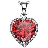 NEEMODA Kette Herz Anhänger Zirkonia Rot Halskette Damen Schmuck Geschenke für Frauen Geburtstag Jahrestag Valentinstag Weihnachten Muttertag