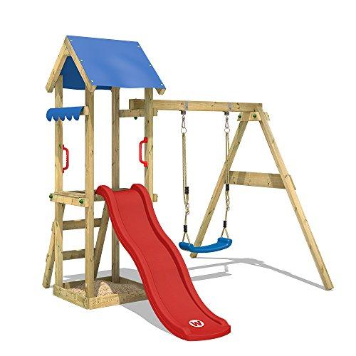 WICKEY Spielturm TinyWave Kletterturm Spielhaus mit Rutsche und Schaukel, Sandkasten und Kletterleiter, rote Rutsche + blaue Plane - Spielhaus Schaukel Kinder Mit