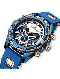 Relojes de Hombre Relojes de Pulsera Impermeable Deportivo Cronógrafo Grandes Diseñador Azul Reloj Hombres Negocios Lujo Luminosos Día Fecha Moda de Goma