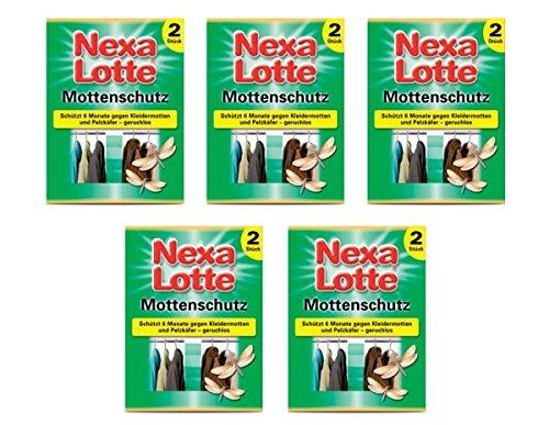 5 x Nexa Lotte Mottenschutz 2 Stück gegen Mottenlarven und Pelzkäferlarven Kleidermotten Schützt 6 Monate