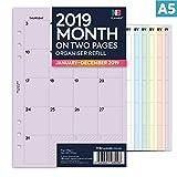 NBplaner® 2019 Monatsübersicht auf zwei Seiten PANNER Filofax A5 kompatibler englischsprachiger Terminplaner Organizer Nachfülleinlage farbig A5 Lilac