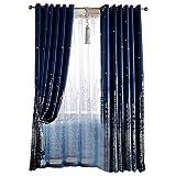 Wifehelper Tulle Curtain Panel Modern Minimalista Tende oscuranti per Soggiorno Camera da Letto Home Decor(Blu Scuro)