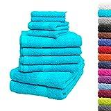 10tlg. Handtuch Set Premium 100% Baumwolle 2 Duschtücher 4 Handtücher 2 Gästetücher 2 Waschhandschuhe Farbe Türkis