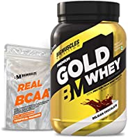 Bigmuscles Nutrition Premium Gold Whey 1Kg [Belgian Chocolate] with Free Real BCAA 10 Servings|Whey Protein Is