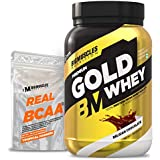 Bigmuscles Nutrition Premium Gold Whey 1Kg [Belgian Chocolate] with Free Real BCAA 10 Servings|Whey Protein Isolate & Whey Protein Concentrate, 25g Protein Per Serving, 0g Sugar, 5.5g BCAA