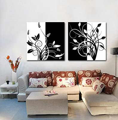 Lemon Tree Art-Huge Canvas Print Wall Art Black and White Abstract Art Trees Pictures Modern Home Decoration Painting set of 2 Each is 50*50cm (Stretched and Framed, Ready to Hang) #cy-58